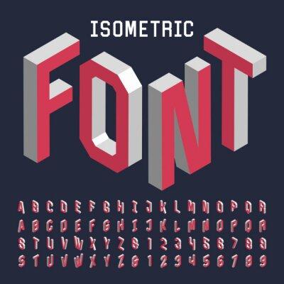 Affisch 3d isometrisk alfabetet vektor teckensnitt. Isometrisk bokstäver, siffror och symboler. Tredimensionell lager vektor typografi för rubriker, affischer etc.