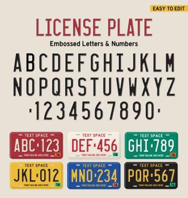 Affisch 3d registreringsskylt teckensnitt och registreringsskylt set