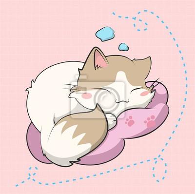 Affisch A cute cat sleeping, este gatito esta inspirado en un sticker