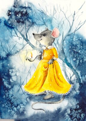 Affisch A mouse with a lantern in a yellow dress. Watercolor hand drawn illustration