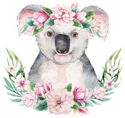 Affisch A poster with a koala. Watercolor cartoon koala tropical animal illustration. Jungle exotic summer print.