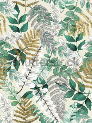 Affisch A seamless representation of watercolor leaves on a yellow background