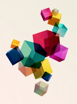 Affisch Abstract colorful background with geometric elements