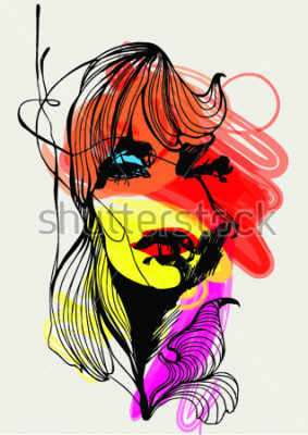 Affisch Abstract design with girl for T-shirt