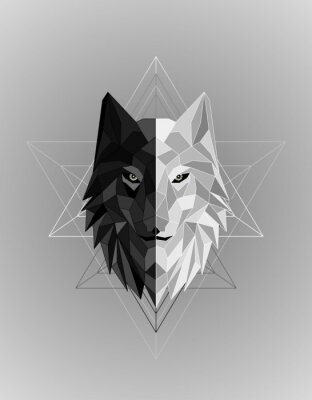 Affisch Abstract polygonal wolf head design