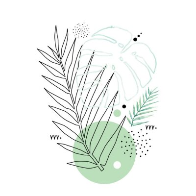 Affisch Abstract poster background minimal shapes, watercolor tropical leaf. Art print with doodles, line, blue texture. Tropical illustration for minimalism, hipster, scandinavian design, t-shirt print