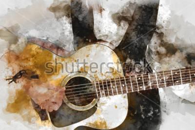 Affisch Abstract vacker kvinna som spelar gitarrist i förgrunden. Närbild, Akvarellmålning bakgrund och Digital illustration pensel till konst.
