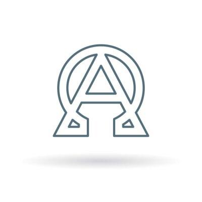Affisch Abstrakt alfa och omega-ikonen. Början och slutet tecken. Grekiska alfa och omega symbol. Alfa och omega logo. Tunn linje ikon på vit bakgrund. Vektor illustration.