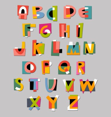Affisch Abstrakt alfabetet teckensnitt. Papper cut-out stil