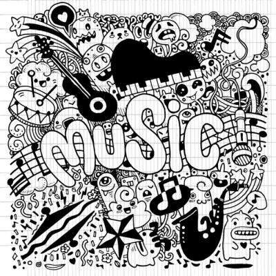 Affisch Abstrakt bakgrundsmusik Hand ritning klotter, vektor illustratio