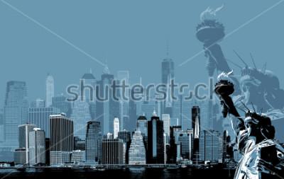 Affisch Abstrakt bild av manhattan. Symbolist i New York. Manhattan Skyline o Frihetsgudinnan NYC. Samtida konst och affish stil i blått