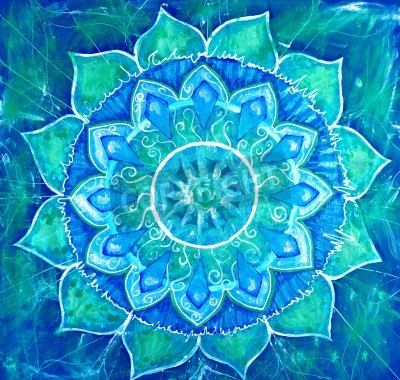 Affisch abstrakt blå målad tavla med cirkelmönster, mandala av vishuddha chakra