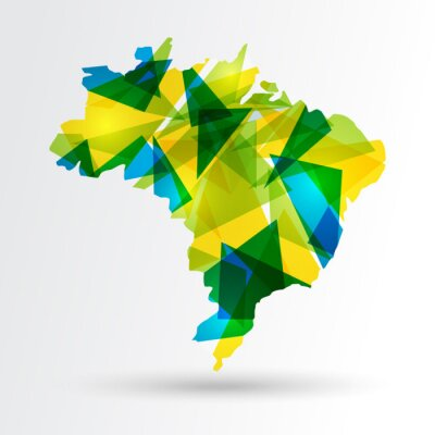 Affisch Abstrakt Brasilien karta