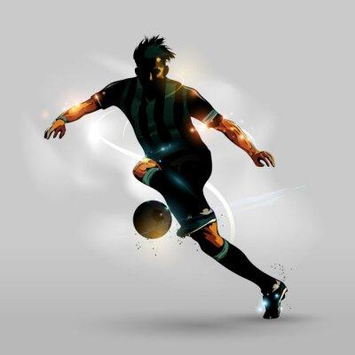 Affisch Abstrakt fotboll springa med boll