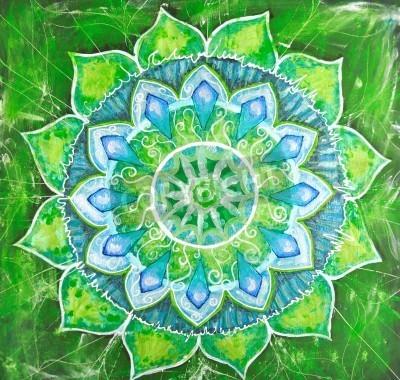 Affisch abstrakt grönt målad tavla med cirkelmönster, mandala av anahata chakra