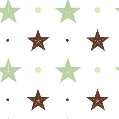 Affisch abstrakt grönt och brunt stjärnor sömlösa vektor mönster bakgrund illustration i skandinaviska färger