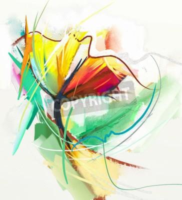 Affisch Abstrakt oljemålning av vårblommor. Stilleben av gul och röd färgflöde. Abstrakt modern impressionist. Blomkonstmålning. Blomma dekorativ målning
