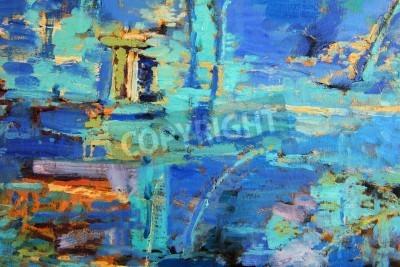 Affisch Abstrakt oljemålning med dominerande blues