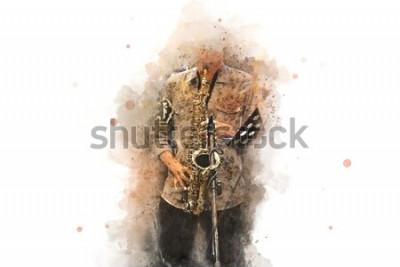 Affisch Abstrakt saxofon i förgrunden. Närbild, akvarellfärgjazz som spelar saxofonen.
