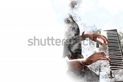 Affisch Abstrakt vacker hand som spelar tangentbordet på piano förgrundsvattenfärgmålningbakgrund och digital illustrationborste till konst.