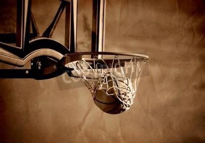 Affisch Action skjuten basket gå igenom basketkorg och netto