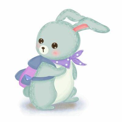 Affisch adorable blue bunny illustration for nursery decoration
