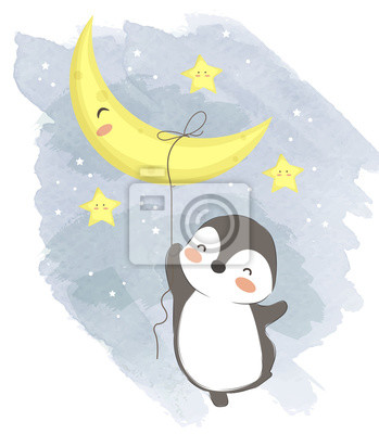 Affisch adorable penguin illustration for personal project,background, invitation, wallpaper and many more