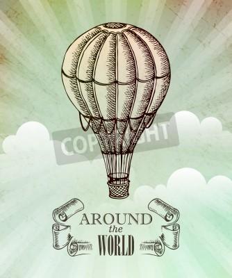 Affisch Aeronautic äventyr. Vector tappningillustration med ballong EPS 10
