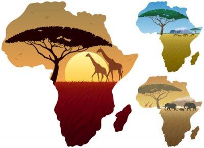 Affisch Afrika Karta Landskap / Tre afrikanska landskap i kartan över Afrika.