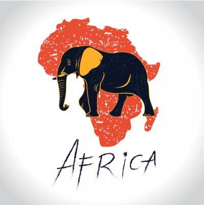 Affisch Afrika och Safari med elefanten logo 2