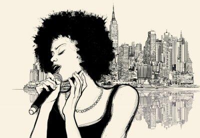 Affisch Afro amerikansk jazzsångerska