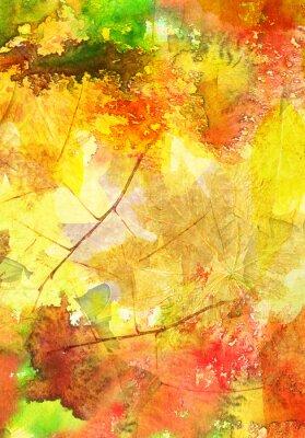 Affisch Akvarell bakgrund med höstlöv