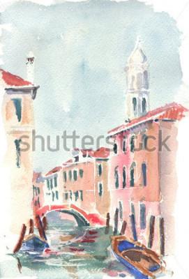 Affisch Akvarell illustration av en venetiansk