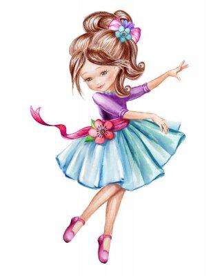 Affisch Akvarell illustration, söt liten ballerina, ung tjej i blå klänning, dansande barn, docka, clip art isolerad på vit bakgrund