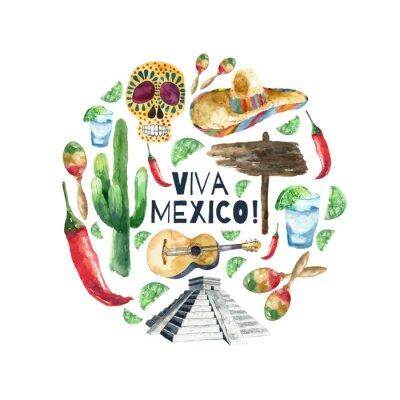 Affisch Akvarell mexico ikoner.