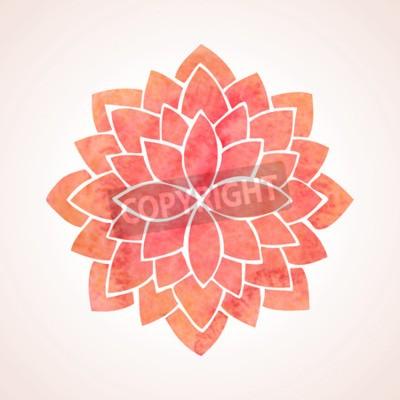 Affisch Akvarell röd lotusblomma mönster på vit bakgrund
