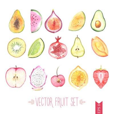 Affisch Akvarell vektor fruktsättning