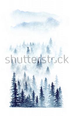Affisch Akvarell vinterlandskap av en skog i dimma. Granar isolerade på vit bakgrund