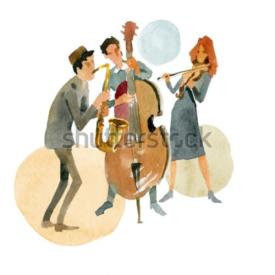Affisch Akvarellillustration. Instrumental jazztrio bestående av kontrabass, fiol och saxofon