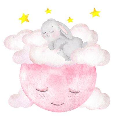 Affisch Akvarellillustration med söt kanin, måne, stjärnor och moln