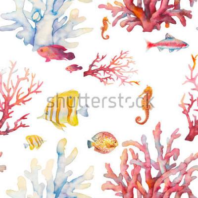 Affisch Akvarellkorallrev blandar monster. Hand Rite realistisk bakgrundsdesign: tropiska fiskar, korall, havshäst på vit bakgrund. Naturlig upprepande konsistensdesign för papper, tyg, tapeter