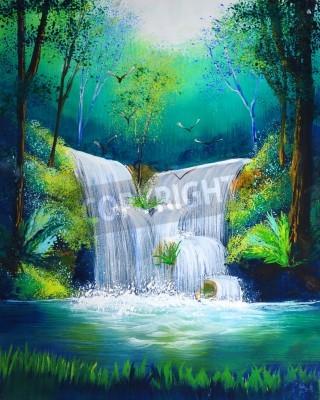 Affisch akvarellmålning av vattenfall