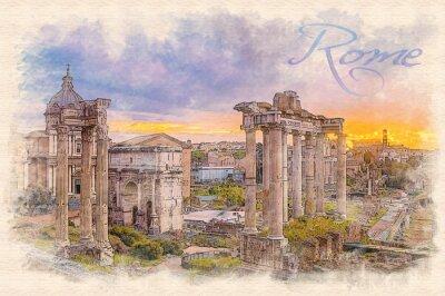 Affisch Akvarellmålning effekt illustration av en gryning över Forum Romanum