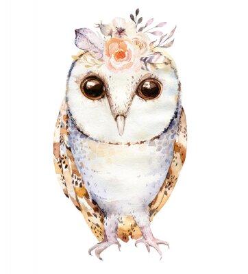 Affisch Akvarelluggla med blommor och fjäder. Handdragen isolerad uggla illustration med fågel i boho stil. Nursery printable poster design.
