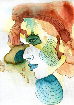 Affisch Akwarelowy portret kobiety