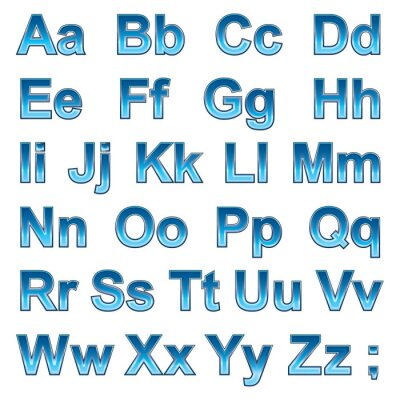 Affisch Alfabetet pseudo 3d bokstäver