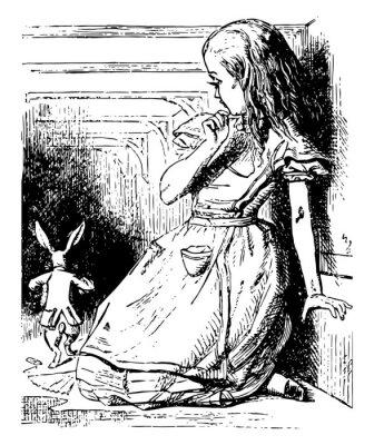 Affisch Alice Watches the White Rabbit Run Away vintage illustration