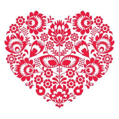 Affisch Alla hjärtans dag folk konst röd hjärta - polska mönster