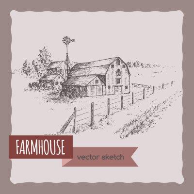 Affisch Amerikansk bondgård, ladugård och betesmark vektor skiss.