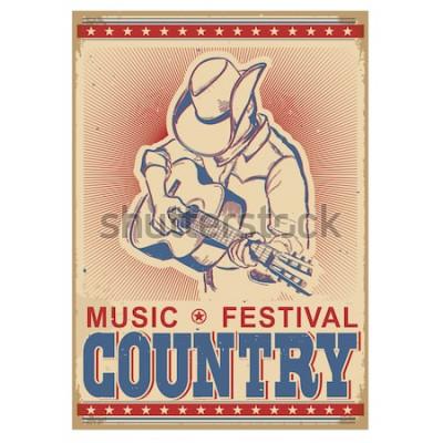 Affisch Amerikansk musikfestivalbakgrund med musiker som spelar gitarr. Retro affisch med text på gammalt papper